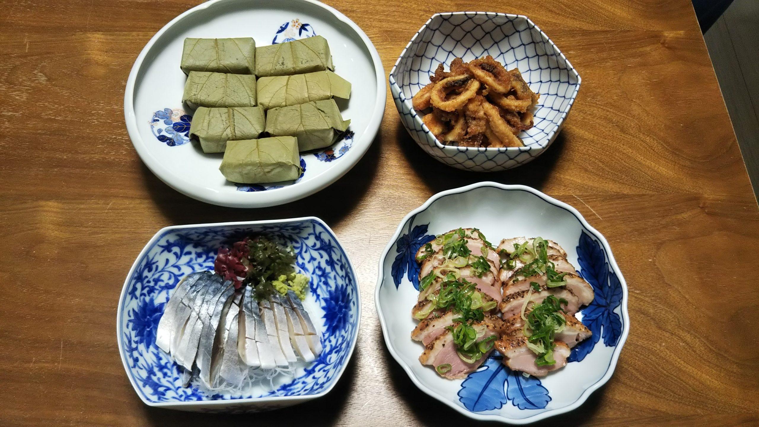 柿の葉寿司 イカフライ しめさば 鴨の燻製