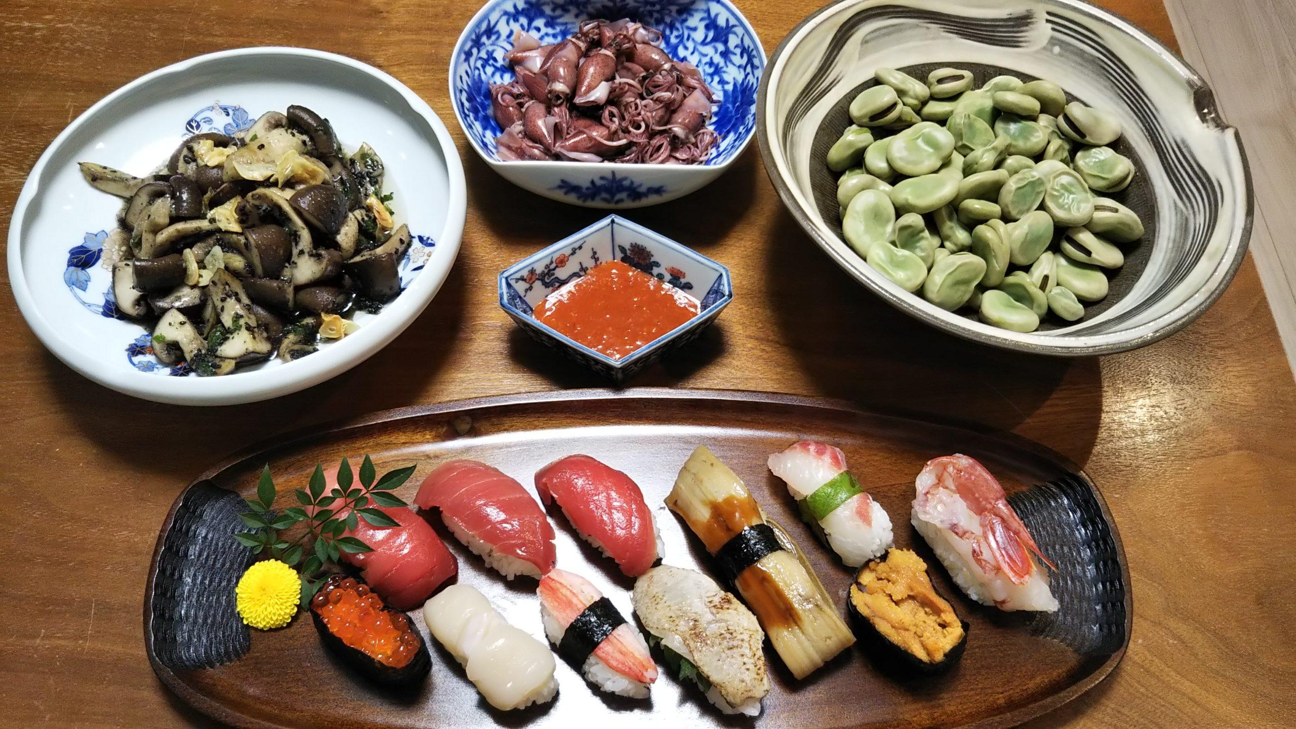 ホタルイカ、お寿司、空豆